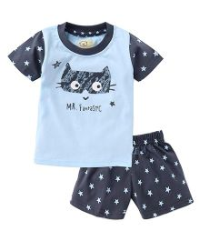 Olio Kids Half Sleeves T-Shirt And Printed Shorts Mr Fantastic Print - Light Blue Dark Grey