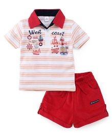 Olio Kids Half Sleeves T-Shirt And Shorts West Coast Print - White Red
