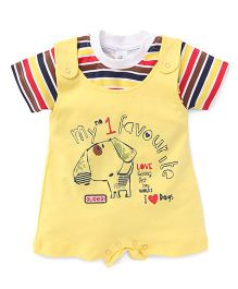 Olio Kids Dungaree Style Romper With Stripe T-Shirt - Yellow Red Brown