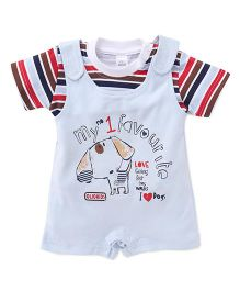Olio Kids Dungaree Style Romper With Stripe T-Shirt - Sky Blue Red Brown