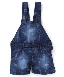 Olio Kids Printed Denim Dungaree - Light Blue