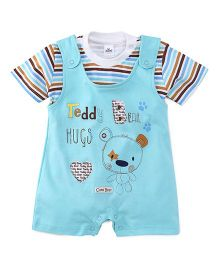 Olio Kids Dungaree Style Romper With Stripe T-Shirt Teddy Print - Sky Blue White