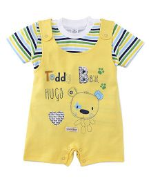 Olio Kids Dungaree Style Romper With Stripe T-Shirt Teddy Print - Yellow White
