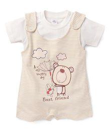 Olio Kids Stripe Dungaree Style Romper With T-Shirt Bear Print - White Cream