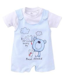 Olio Kids Stripe Dungaree Style Romper With T-Shirt Bear Print - White Sky Blue