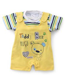Olio Kids Dungaree Style Romper With T-Shirt Teddy Print - Yellow
