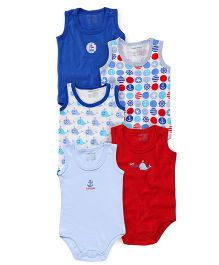 Luvable Friends Multi Printed Pack Of 5 Onesies - Blue & Red