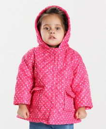 Babyhug Full Sleeves Hooded Jacket Dots Print - Pink