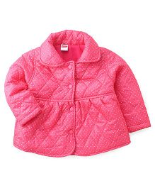 Babyhug Full Sleeves Dots Print Jacket - Pink