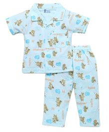 Pink Rabbit Half Sleeves Night Suit Squirrel Print - Light Blue