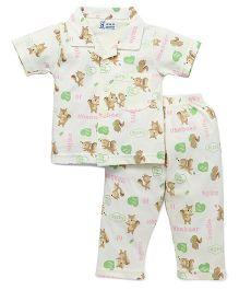 Pink Rabbit Half Sleeves Night Suit Squirrel Print - Light Green