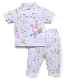 Pink Rabbit Half Sleeves Printed Night Suit - White & Pink