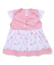 Pink Rabbit Cap Sleeves Frock Teddy Print - Light Pink