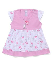 Pink Rabbit Cap Sleeves Frock Teddy Print - Dark Pink