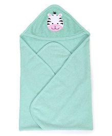Pink Rabbit Hooded Towel With Tiger Patch - Green