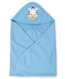 Pink Rabbit Hooded Towel With Tiger Patch - Blue