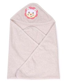 Pink Rabbit Hooded Towel With Lion Patch - Beige