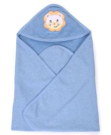 Pink Rabbit Hooded Towel With Lion Patch - Blue