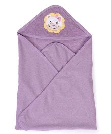 Pink Rabbit Hooded Towel With Lion Patch - Purple
