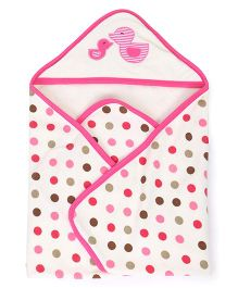 Pink Rabbit Polka Dot Print Hooded Towel - White & Pink