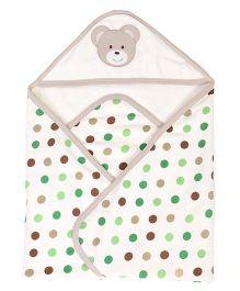 Pink Rabbit Polka Dot Print Hooded Towel - White & Beige