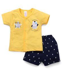 Pink Rabbit  Half Sleeves Front Open Tee & Shorts - Yellow