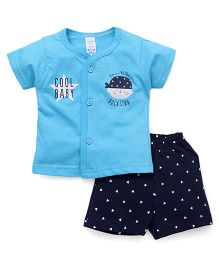 Pink Rabbit  Half Sleeves Front Open Tee & Shorts - Blue