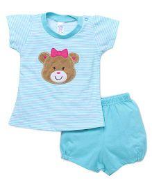 Pink Rabbit Half Sleeves Stripes Tee & Shorts - Light Blue