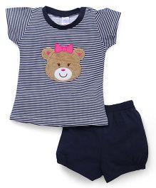 Pink Rabbit Half Sleeves Stripes Tee & Shorts - Navy Blue