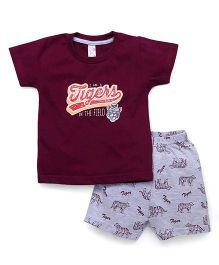 Pink Rabbit Half Sleeves T-Shirt And Shorts Set - Maroon