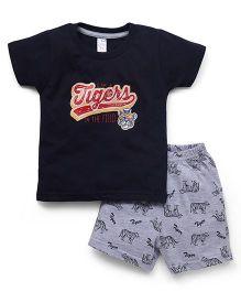 Pink Rabbit Half Sleeves T-Shirt And Shorts Set - Navy