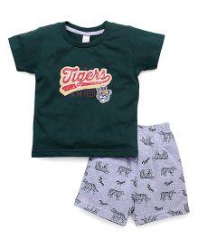 Pink Rabbit Half Sleeves T-Shirt And Shorts Set - Dark Green