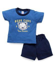 Pink Rabbit Half Sleeves T-Shirt And Shorts Set Bear Cub Print - Blue