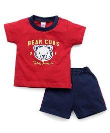 Pink Rabbit Half Sleeves T-Shirt And Shorts Set Bear Cub Print - Red