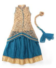Mukaam Floral Embroidered Jacket With Skirt & Dupatta - Blue