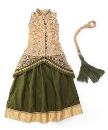 Mukaam Floral Embroidered Jacket With Skirt & Dupatta - Green