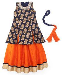 Mukaam Designer Skirt With Kurti & Dupatta - Navy Blue & Orange