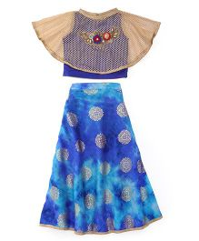 Mukaam Lehenga Choli With Cape - Blue