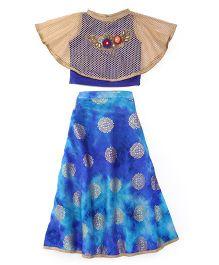 Mukaam Lehenga Choli With Cape - Blue