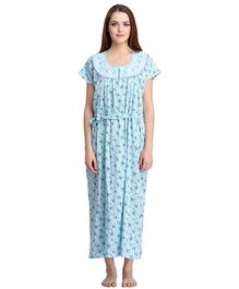Clovia Short Sleeves Printed Nighty With Waist Belt - Blue