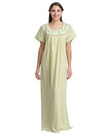 Clovia Half Sleeves Printed Nighty With Embroidered Yoke - Green
