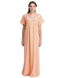 Clovia Half Sleeves Printed Nighty With Embroidered Yoke - Orange