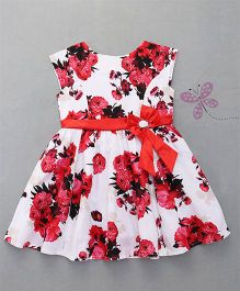 Enfance Stylish Dress With Attached Tie Bow - Red