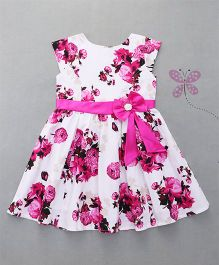 Enfance Stylish Dress With Attached Tie Bow - Pink