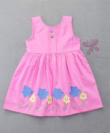 Enfance Sleeveless Embroidered Dress - Pink