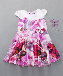 Enfance Cap Sleeves Dress With Bow - Pink White
