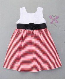 Enfance Sleeveless Stripes Dress - White & Red