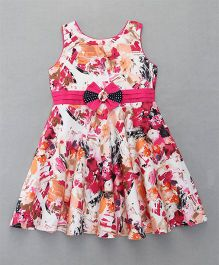 Enfance Sleeveless Dress With Floral Bow - Pink
