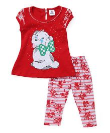 Hopsy Puppy Printed Two Piece Set - Red