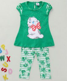 Hopsy Puppy Print Short Sleeves Top & Leggings Set - Green